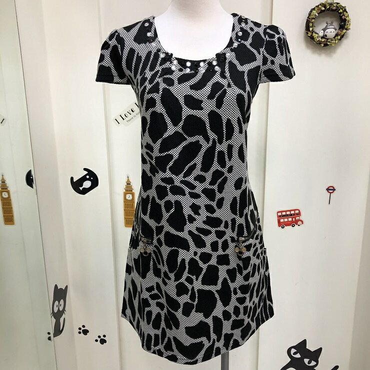 免運 黑 動物紋 圓領 短袖 洋裝 連身裙 豹紋 短裙 女裝 女 女生