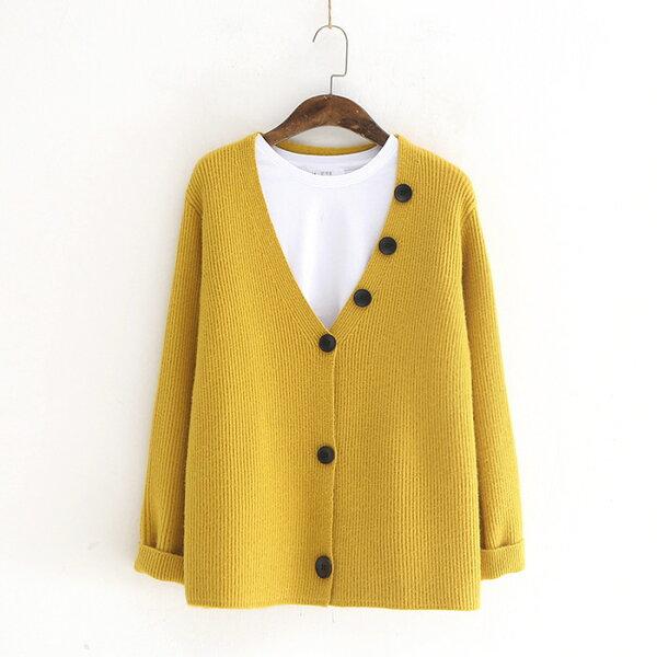 簡約風針織小開衫V領三粒扣長袖外套樂天時尚館。預購。[全店免運]