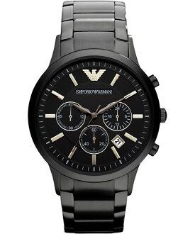 EMPORIO ARMANI/AR2453義式經典紳士計時腕錶/黑面44mm