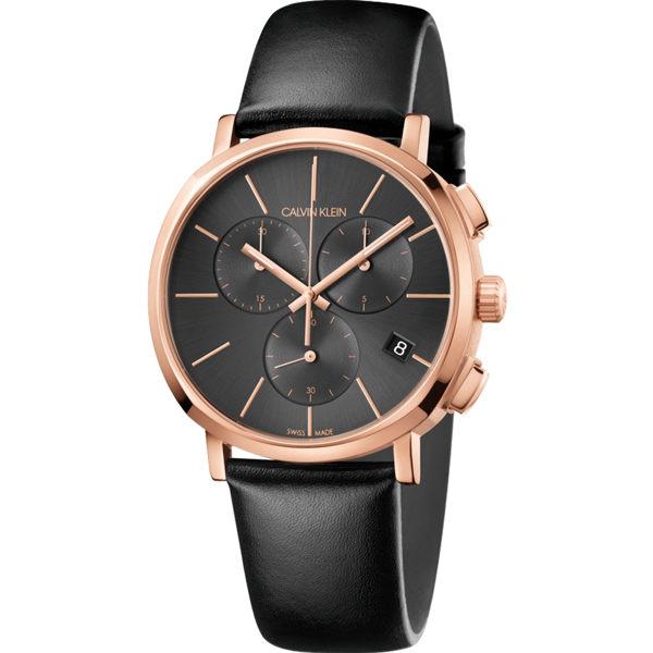 Calvinklein卡文克萊潮流系列(K8Q376C3)三眼簡約時尚腕錶玫瑰金黑42mm