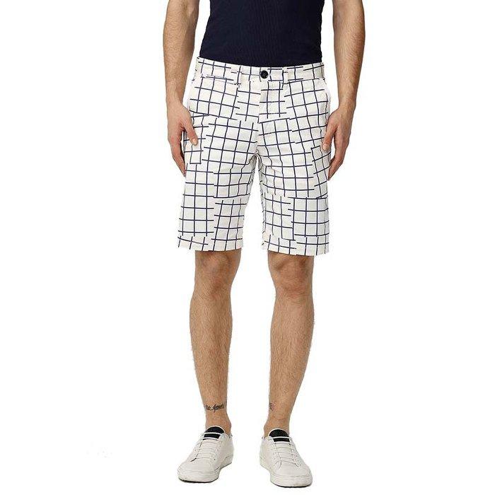 美國百分百【全新真品】Armani Exchange 短褲 AX 褲子 休閒褲 五分褲 復古 格紋 白色 32 33 38腰 H844