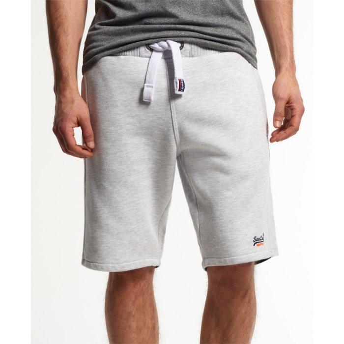 美國百分百【全新真品】Superdry 極度乾燥 短棉褲 短褲 休閒褲 抽繩 運動褲 復古 灰白 大尺碼 XL號 H739