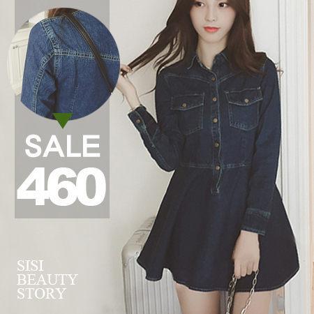 SiSi Girl:SISI【D5197】超美Der翻領縮腰顯瘦長袖牛仔單寧連身裙丹寧洋裝