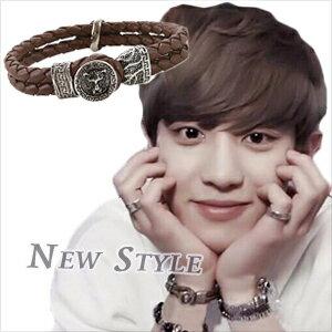 ☆ New Style ☆ EXO 燦烈 Chanyeol 同款獵犳十字劍輝皮織手環 ( 單只 )