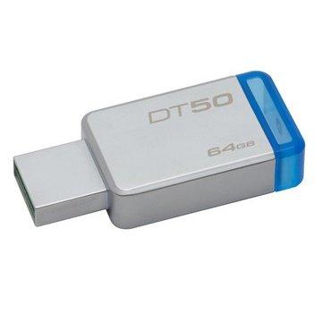 <br/><br/>  【新風尚潮流】 金士頓 隨身碟 DT50 USB 3.1 64G 藍標 無蓋式設計 金屬外殼 DT50/64GB<br/><br/>
