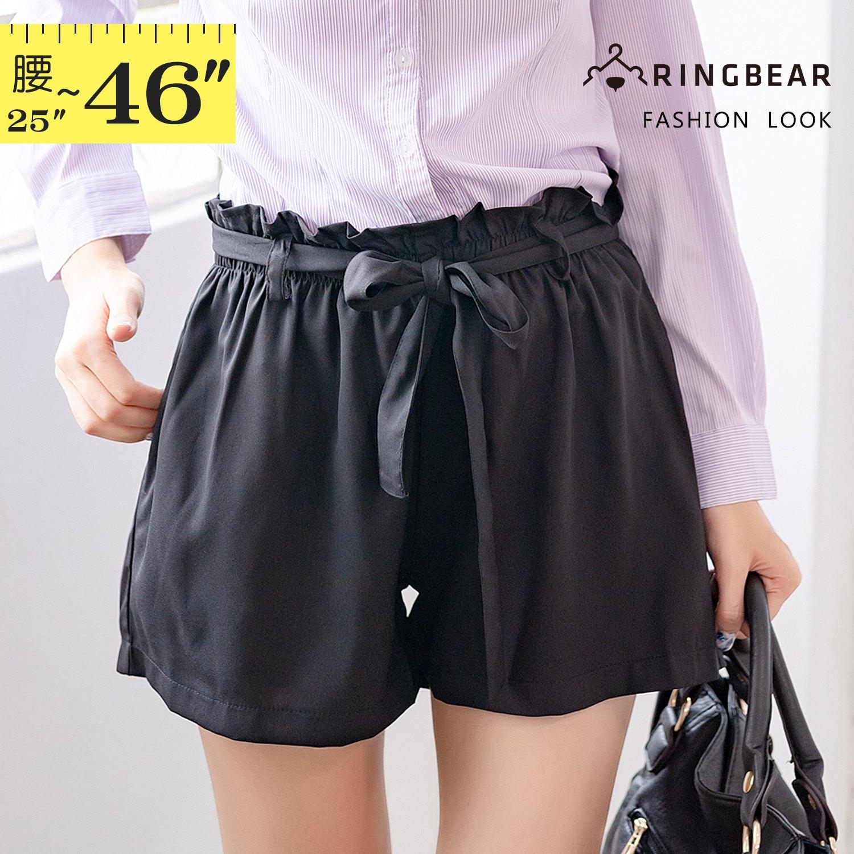 短褲--輕甜優雅俏麗滿點百搭凸點雪紡雙口袋寬口鬆緊腰綁帶花苞短褲(黑XL-4L)-R167眼圈熊中大尺碼 1