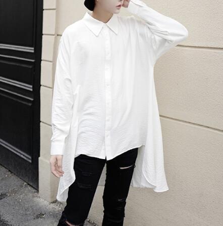 FINDSENSE Z1 韓國 時尚 潮 男 寬鬆大尺碼 超大下擺設計 長袖襯衫 特色襯衫