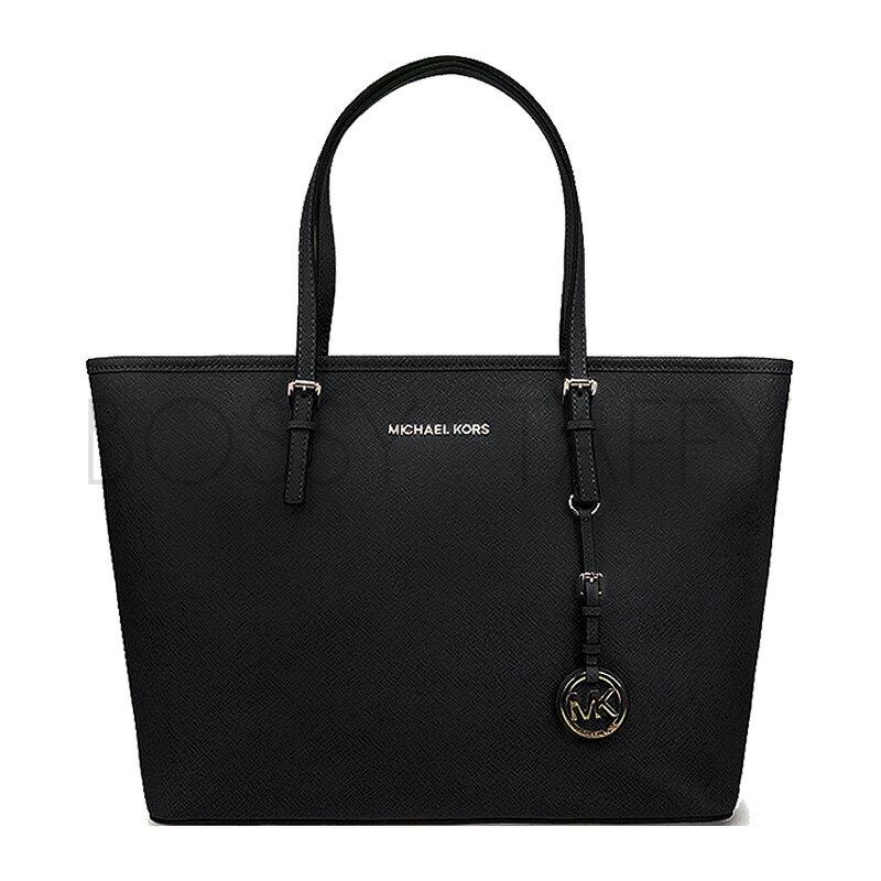MICHAEL KORS 30S4GTVT2L 黑色皮革金色Logo吊飾肩背托特包 Jet Set Travel Saffiano Leather Top-Zip Tote black