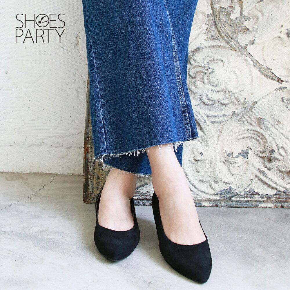 【F2-19913L】高質感羊絨尖頭低跟鞋_Shoes Party 1