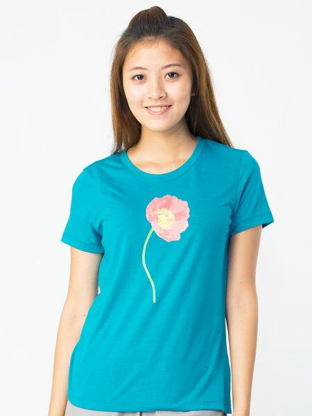 【桃源戶外】WILDLAND,─0A11615女仿棉印花抗UV圓領衣『湖水綠』