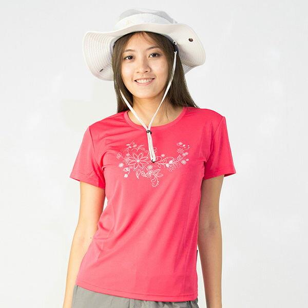 【桃源戶外】Litume─P9066女排汗圓領T恤『桃紅』