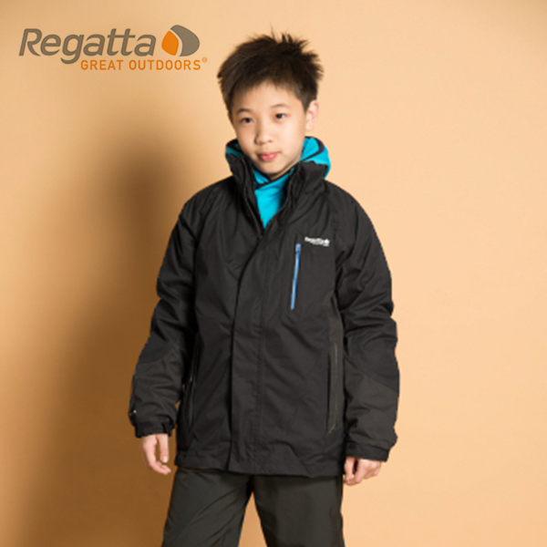 【桃源戶外】Regatta 童 防風│防水│纖維│兩件式雪衣 RKP074『黑/灰泥灰』