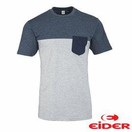 EiDER雙色有口袋短袖T恤 男 淺灰色 EIV3011