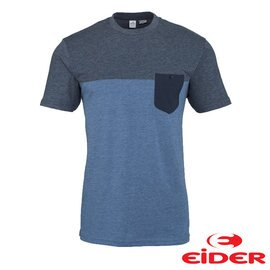 EiDER 有機 棉雙色有口袋短袖T恤 男 藍灰色 EIV3011