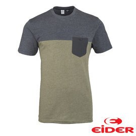 EiDER 有機 棉雙色有口袋短袖T恤 男 卡其綠 EIV3011
