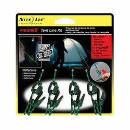桃源戶外 美國 NITEIZE FIGURE 9 帳篷繫繩勾組 (4入含2.43M繩) 黑 F9T40301