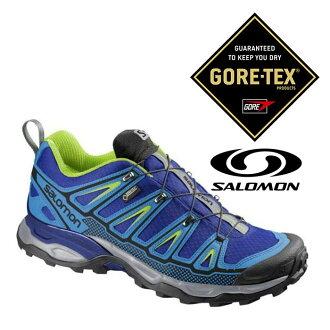 Salomon 男 Gore-Tex 防水登山健行鞋 X Ultra 2 GTX『甲基藍/綠』373313|登山鞋