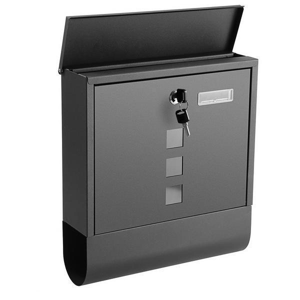 Rust Proof Powder Coated Steel Black Vertical Lockable Mailbox Wall Mount 0