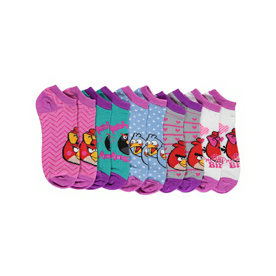 """Angry Birds 5 Pack """"Pretty Bird"""" Low Rise Girls Socks - Size 9 - 11 Large"""