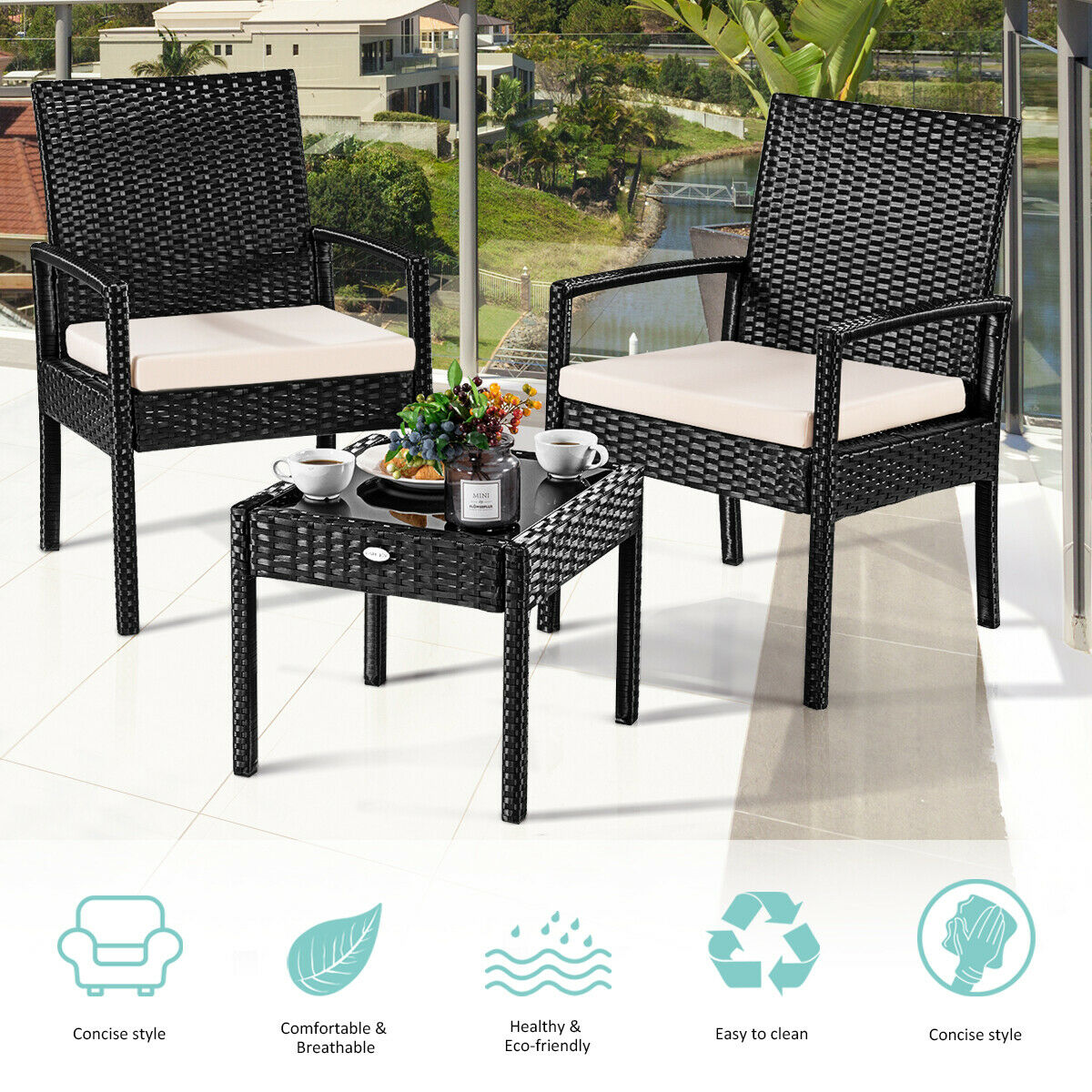 Delicieux Costway 3 PS Outdoor Rattan Patio Furniture Set Backyard Garden Furniture  Seat Cushioned