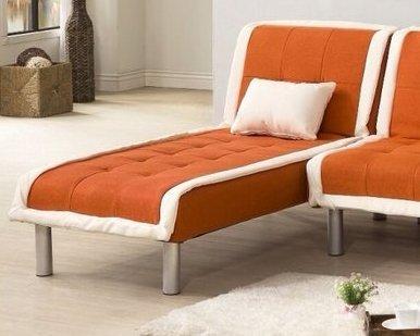 !新生活家具! 北歐風 沙發床 布沙發 橘色 貴妃椅 一人座 《奶油滾邊》躺椅 單人座 二色可選 非 H&D ikea 宜家