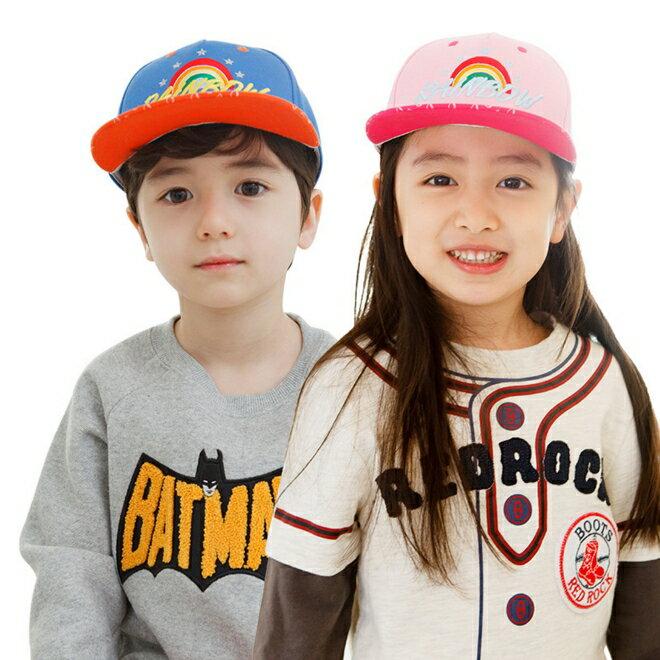 WallFree窩自在★時尚繽紛彩虹rainbow質感刺繡兒童休閒鴨舌帽運動棒球帽