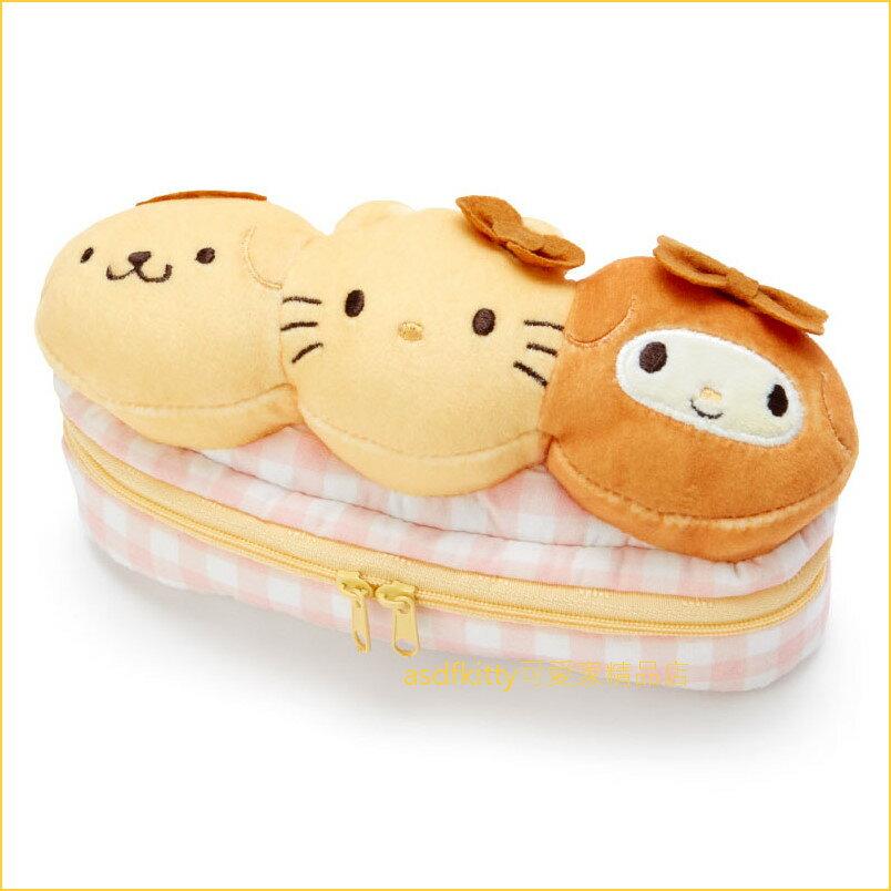 asdfkitty可愛家☆KITTY 美樂蒂 布丁狗 麵包造型筆袋/文具袋/收納袋-日本正版商品