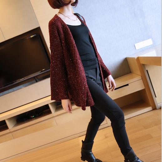 里奈子 Li-nagi:LINAGI里奈子精品【EU16611-89-77】韓KOREA休閒簡單無釦開襟雙口袋雙小開叉下擺長袖外套