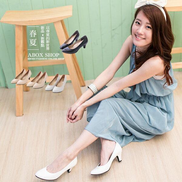 ★399免運★格子舖*【KP9952】MIT台灣製 韓版時尚素色皮革 柔軟內裡 6CM尖頭高跟鞋 5色