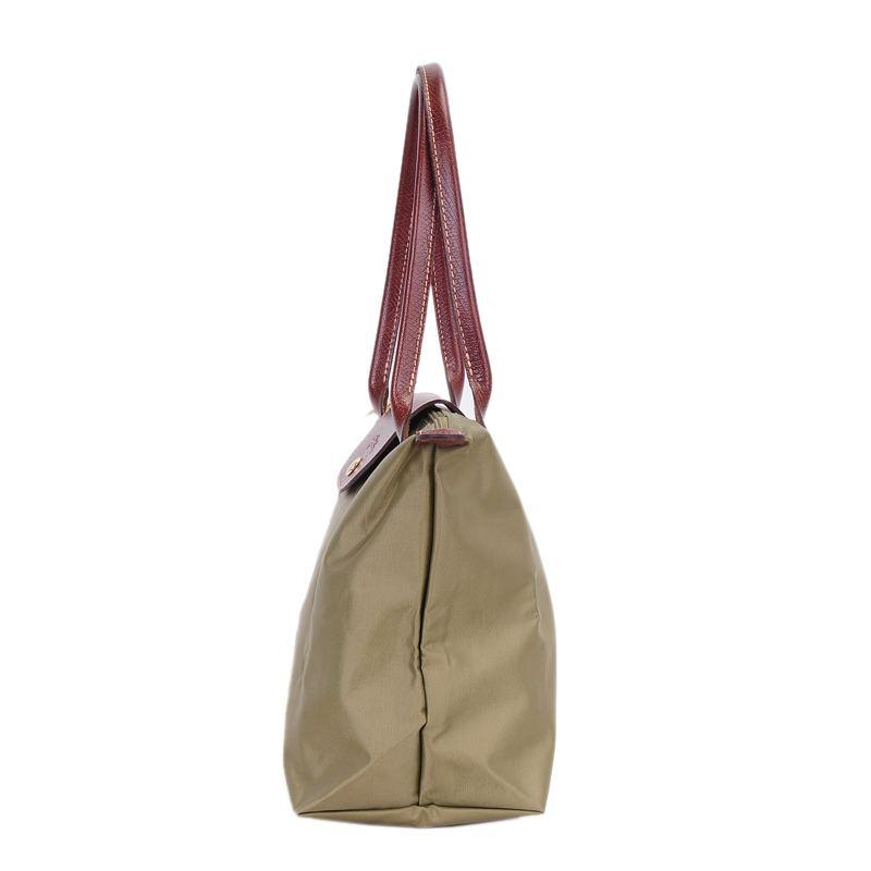 [2605-S號] 國外Outlet代購正品 法國巴黎 Longchamp 長柄 購物袋防水尼龍手提肩背水餃包 抹茶綠 2