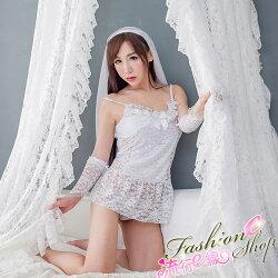 性感睡衣組~細肩帶甜美白色性感睡衣含頭紗手套~流行E線A7107