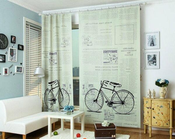 幸福家居商城:C00019♥回憶舊時光自行車戀人140*270遮光窗簾客廳窗簾