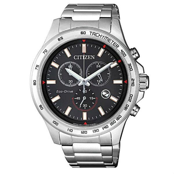 大高雄鐘錶城:CITIZEN星辰錶AT2420-83E運動風三眼光動能腕錶黑藍面42.5mm