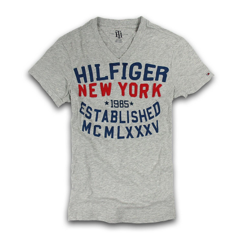 美國百分百【Tommy Hilfiger】T恤 TH 男 V領 T-shirt 短袖 短T 灰色 復古 文字 XS S號 F214