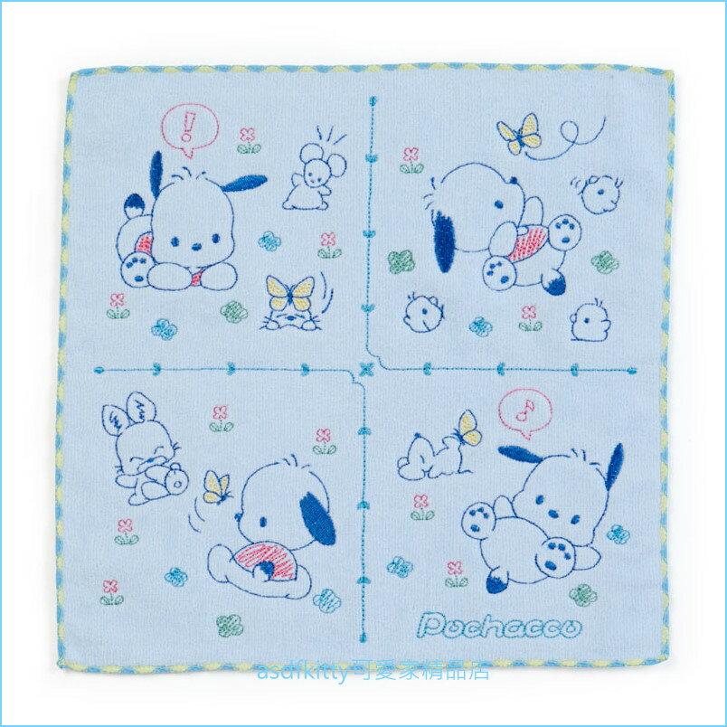 asdfkitty可愛家☆帕洽狗藍色玩耍小方巾/手帕-100%純棉-25*25公分-日本正版商品