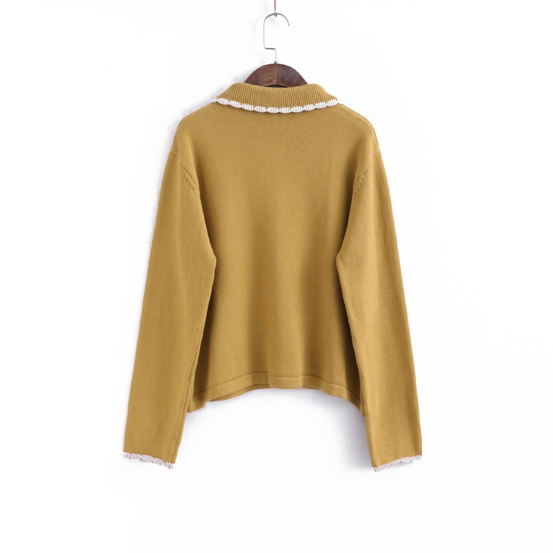 110180春季新款氣質撞色鑲邊翻領單排扣短款寬鬆長袖針織衫毛衣
