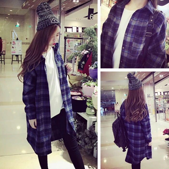 PS Mall 寬鬆方格子外套長袖襯衫~T2805~ ~  好康折扣