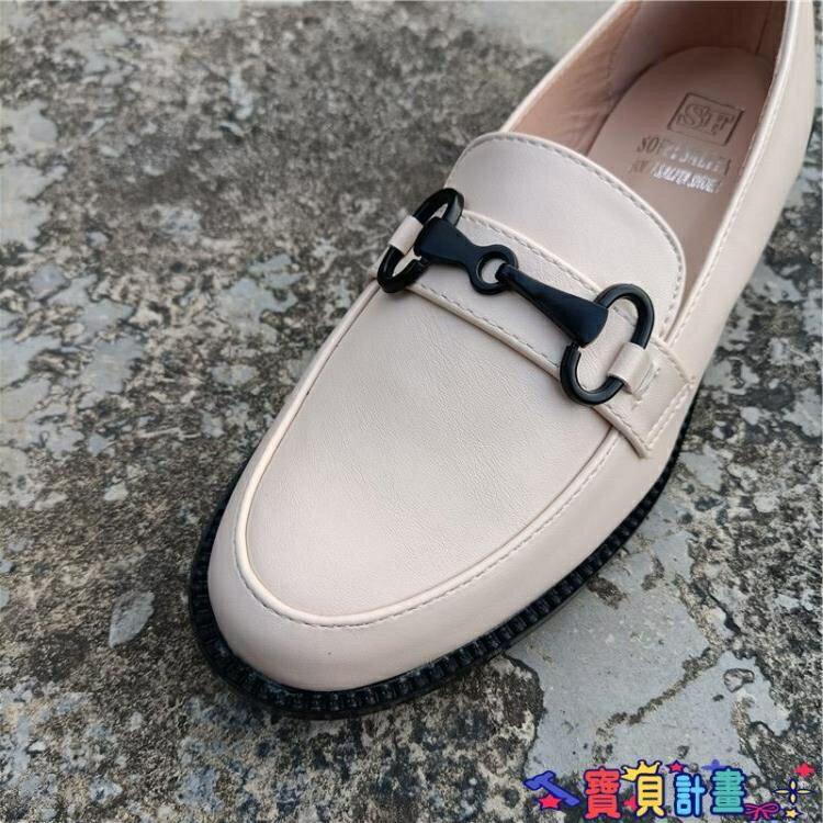 牛津鞋 外貿英倫風秋季小皮鞋大碼金屬裝飾學院風低跟圓頭牛津單鞋 女鞋