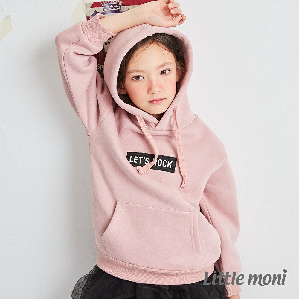Little moni內刷毛連帽刺繡上衣-粉紅(好窩生活節) 1