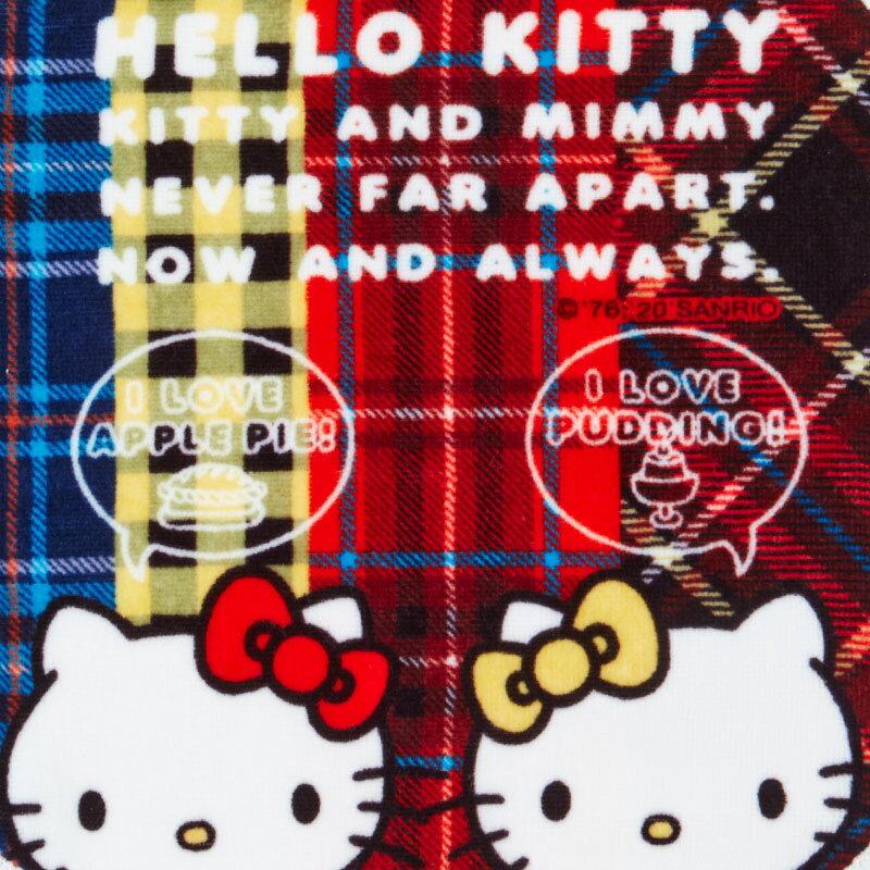 凱蒂貓kitty 姊妹 生日限定 格紋系列 純棉小方巾 F103 小毛巾 純棉 吸水 口水巾 真愛日本