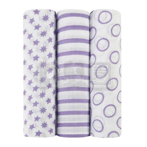 美國idealbaby輕柔新生兒包巾(3入)-紫星星IB101【悅兒園婦幼生活館】