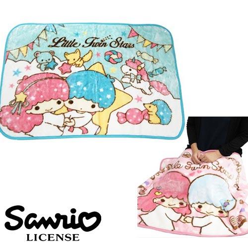 水藍色款【日本進口正版】雙子星 KIKI LALA 絨毛 披肩 毛毯 毯子 披毯 三麗鷗 Sanrio - 417918