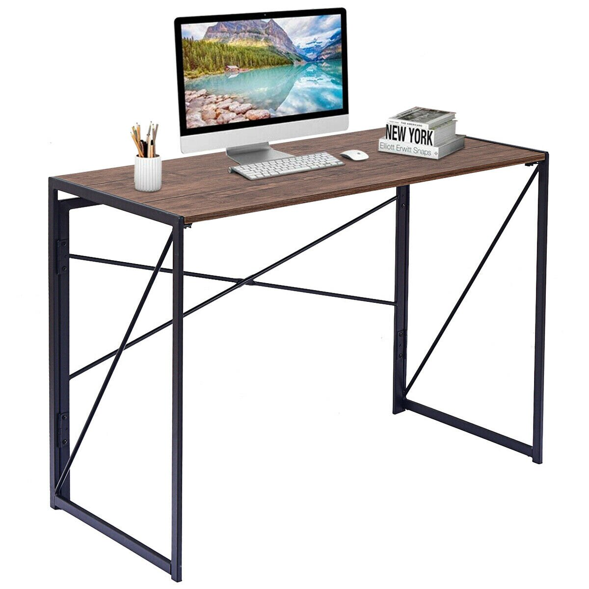 Ordinaire Costway Folding Writing Computer Desk Modern Simple Study Desk Laptop Table  Home Office 0