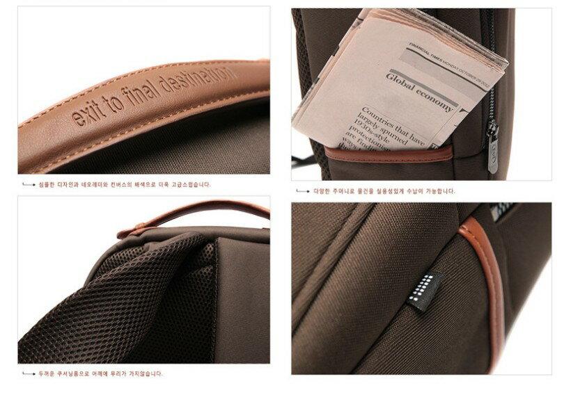 韓國代購 高品質 簡約男性公事14.15吋筆電雙背包 經典包 3