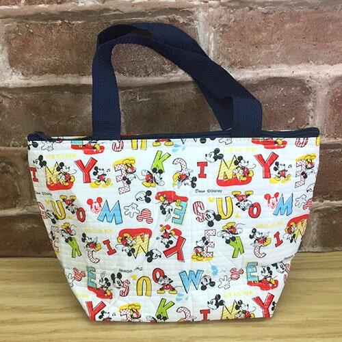 【真愛日本】17071400005 彩色字母保溫保冷袋兩色 迪士尼 米老鼠 米奇 米妮 便當袋 餐袋