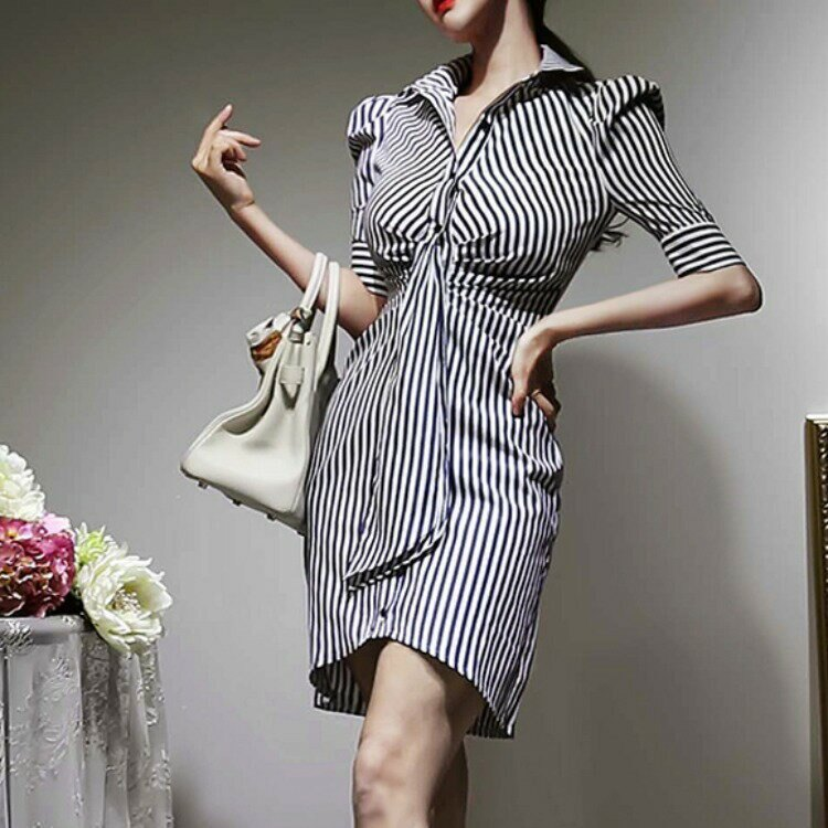 全店一件免運✦跨境2021夏裝新款韓版氣質修身時尚條紋收腰顯瘦襯衫裙連衣裙女✦女裝