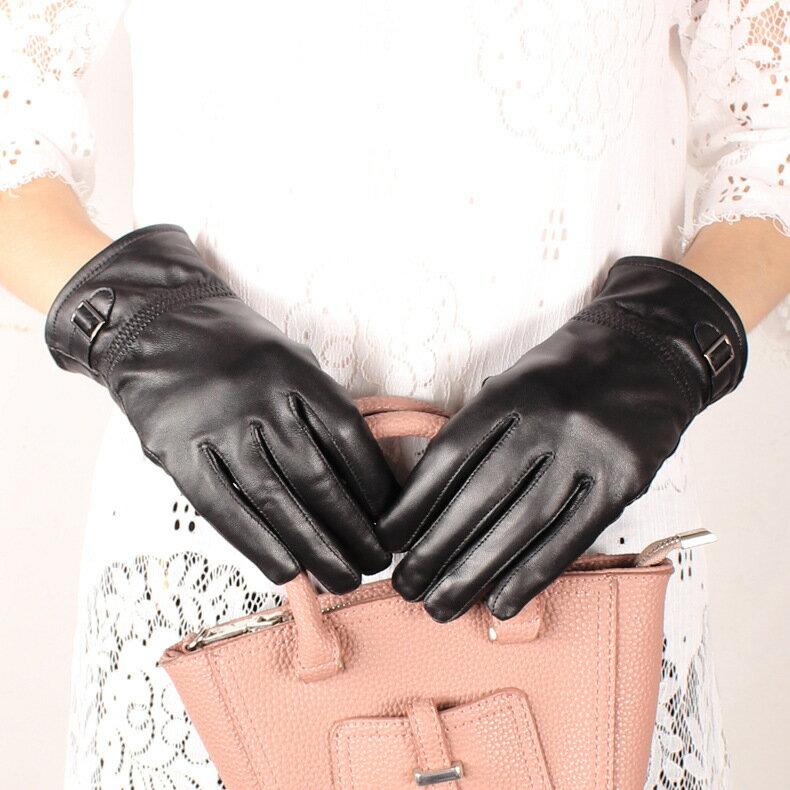 真皮手套保暖手套-羊皮加絨皮扣黑色女手套73wm69【獨家進口】【米蘭精品】 1