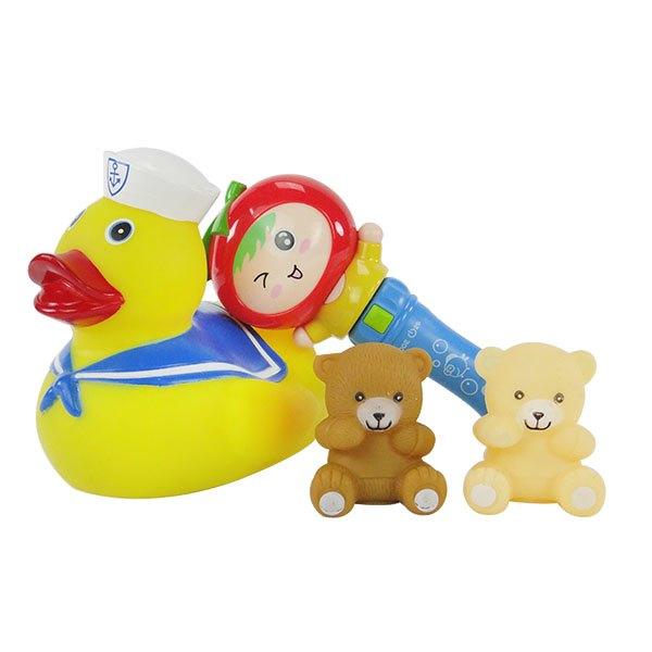 【888便利購】大隻黃色小鴨啾啾洗澡玩具+娃娃音樂手搖鈴(1115)