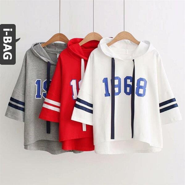 B.A.G*現+預*【TB1441】學院風卡通字母印花帽T寬鬆短袖上衣(現+預)-6色