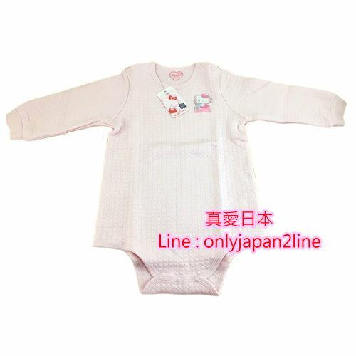 【真愛日本】16100100047三層棉連身裝90CM-KT  KITTY 凱蒂貓 三麗鷗 嬰兒用品 彌月送禮